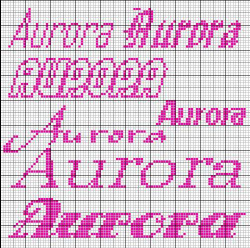 Schema nome aurora punto croce