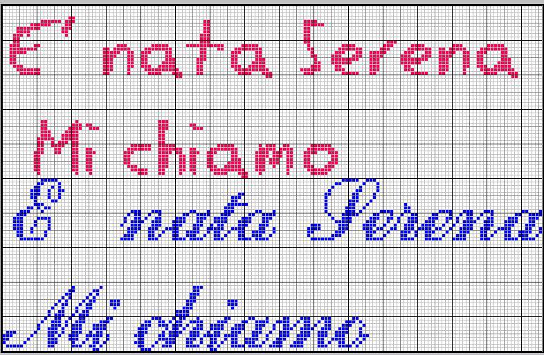 Favorito Schemi Punto croce Emma 3, Mi chiamo Serena e Ginevra GN07