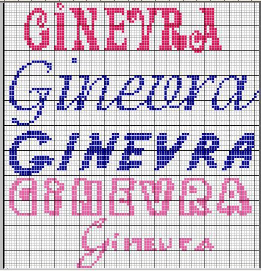 abbastanza Schemi Punto croce Emma 3, Mi chiamo Serena e Ginevra WF25