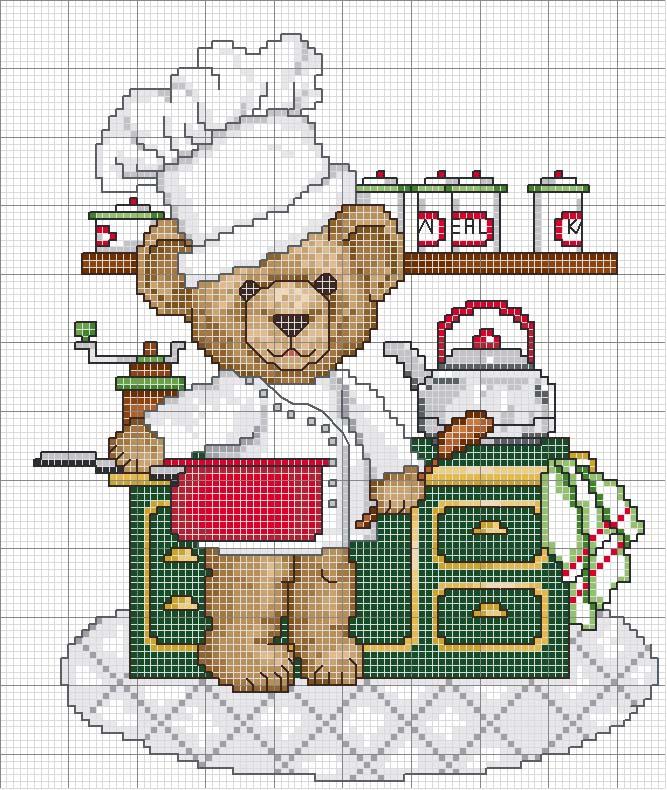 Schema punto croce orsetto cuoco for Schema punto croce orsetto