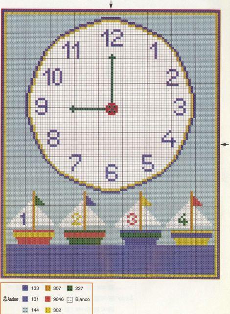 Schema punto croce orologio barchette for Orologio punto croce schemi gratis