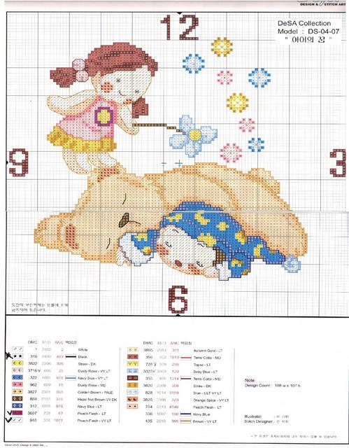 Schema punto croce orologio bimbo dorme for Orologio punto croce schemi gratis