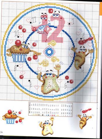 Schema punto croce orologio cibo 1b for Orologio punto croce schemi gratis