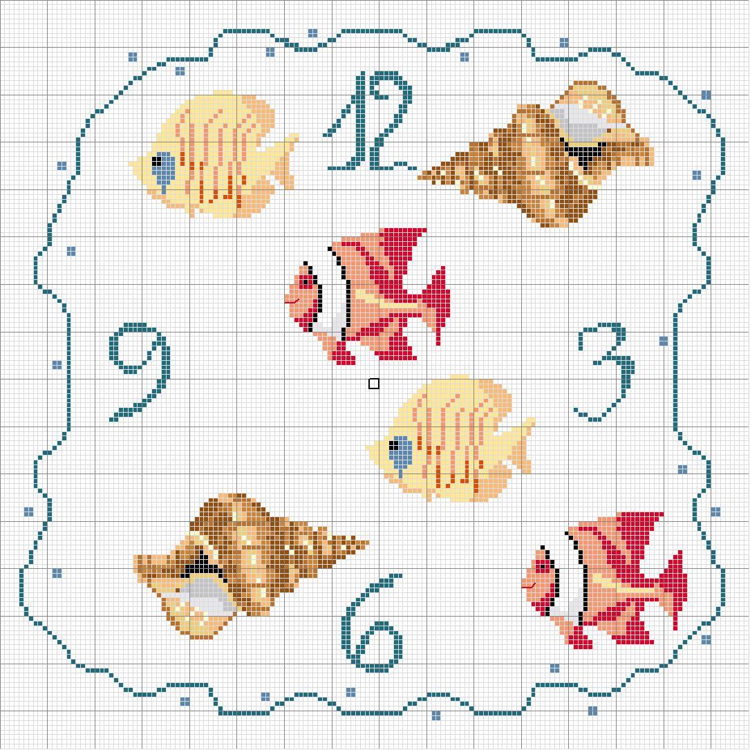 Schema punto croce orologio conchiglie for Orologio punto croce schemi gratis