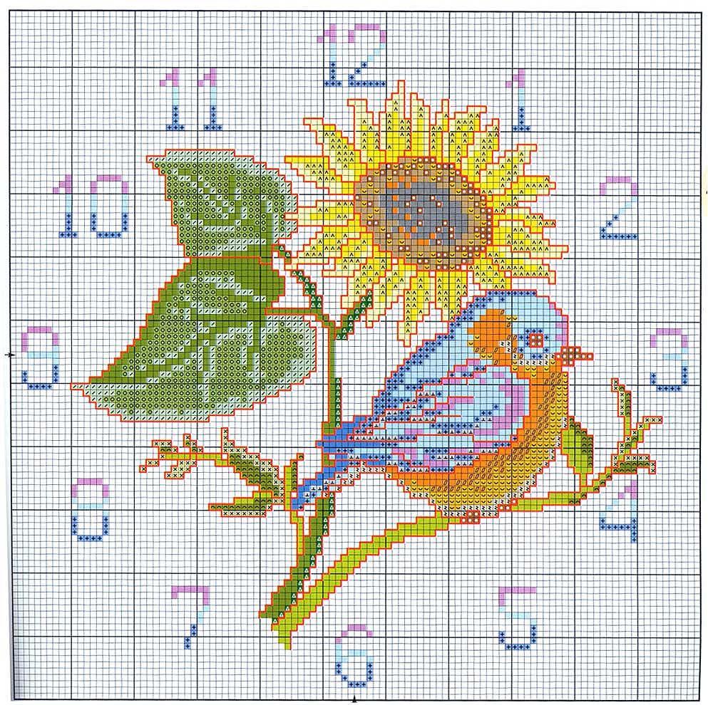 Schema punto croce orologio girasole for Orologio punto croce schemi gratis