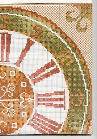Schema Punto Croce Orologio Numeri Romani 1f