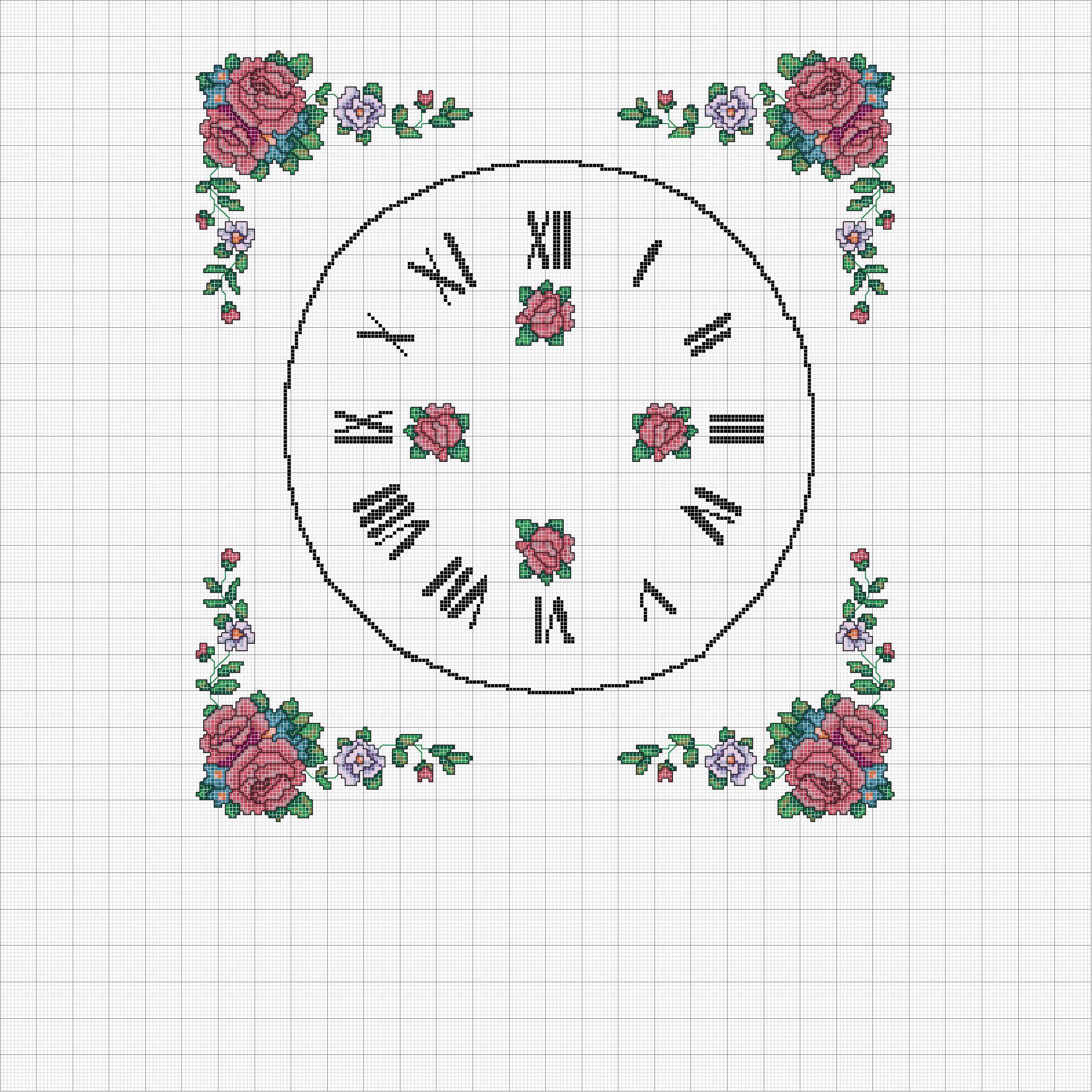 Schema punto croce orologio rose rosse for Orologio punto croce schemi gratis