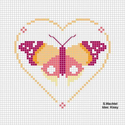 Schema punto croce Cuore E Farfalla