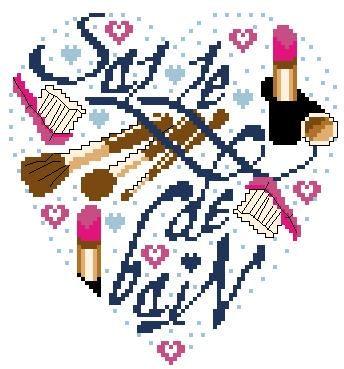 Schema punto croce Cuore Maquillage 1