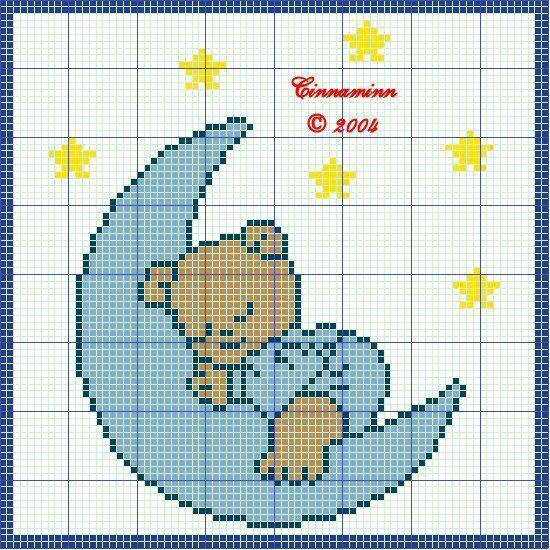 Schema punto croce orsetto in nuvoletta for Schema punto croce orsetto