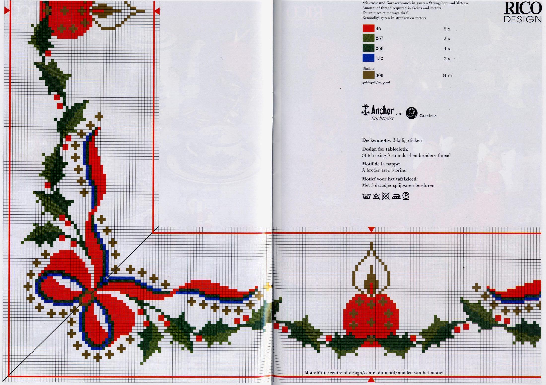 Схемы для вышивки крестом новогодние на скатерти 694