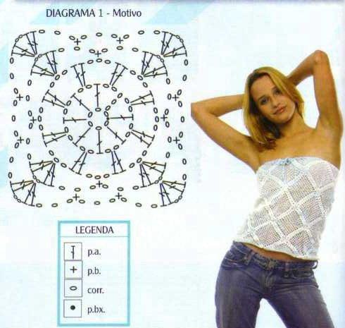 Maglietta Bianca Quadrati Schema allUncinetto